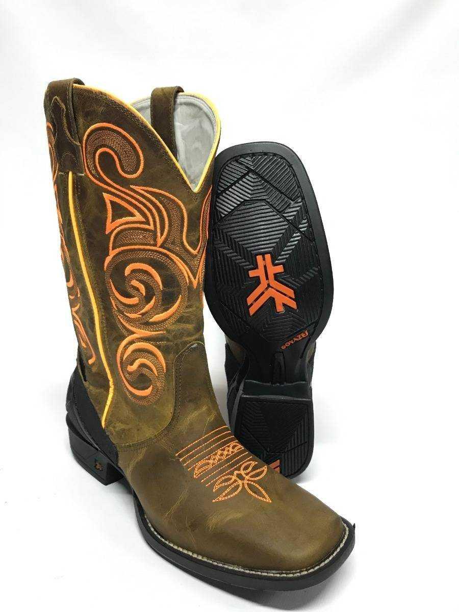 Bota Texana Masculina Goyazes Dallas Ocre Bico Quadrado