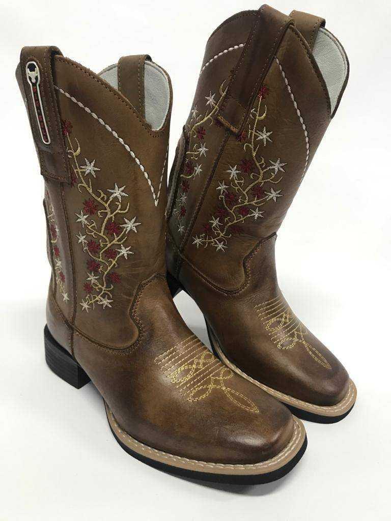 Bota Texana Feminina Big Bull Marrom Bordado de Flor