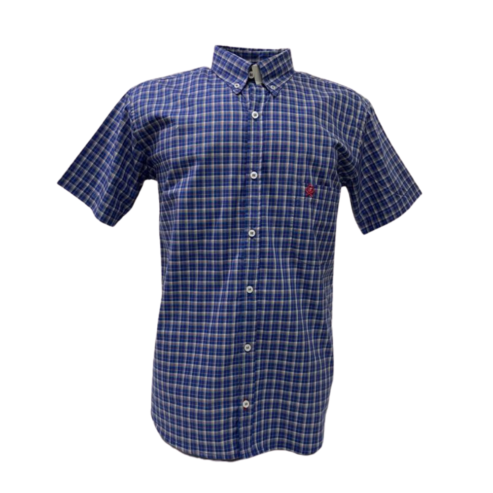 Camisa Masculina Ox Horns Manga Curta Azul Xadrez  Ref:9241