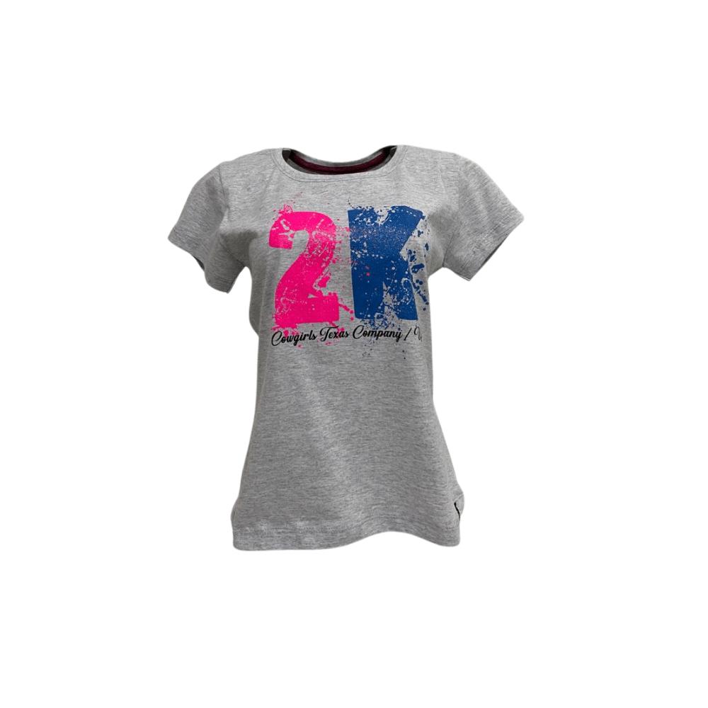 Camiseta Feminina 2K Jeans Cinza - Ref. 040