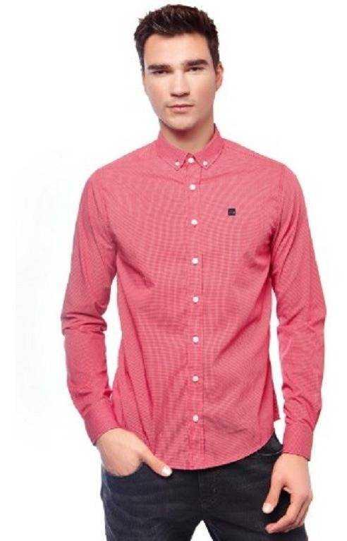 Camisa Masculina Escaramuça Xadrez Vermelho