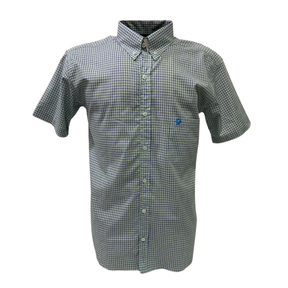 Camisa Masculina Ox Horns Verde Xadrez Manga Curta Ref: 9243