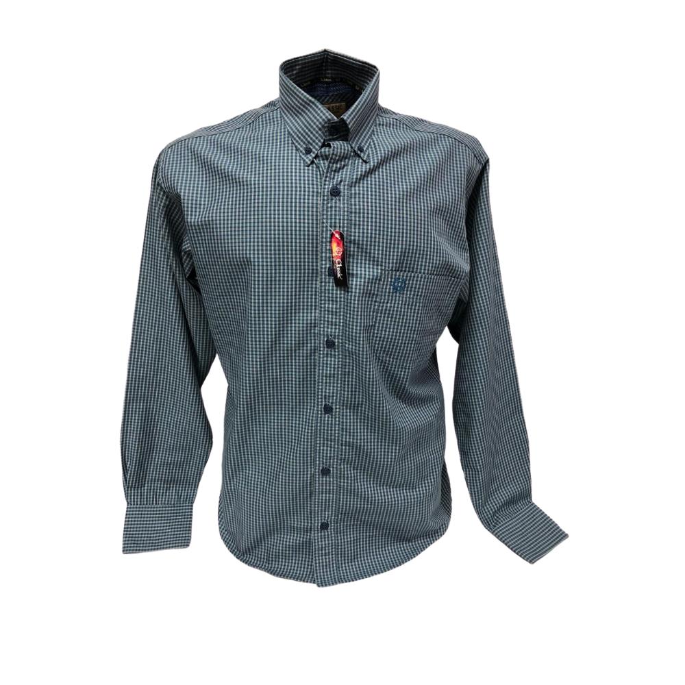 Camisa Masculina Classic Xadrez Azul  Ref: 1907