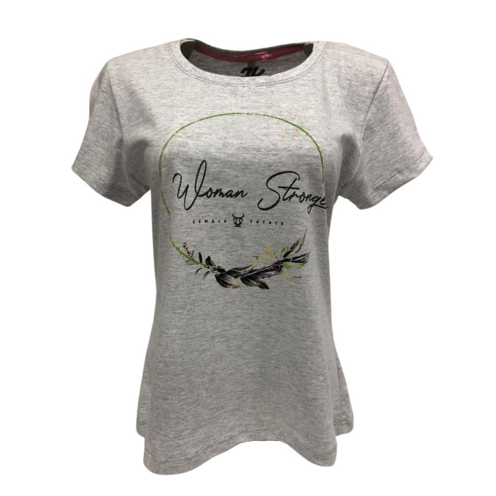 Camiseta Country Feminina 2K Jeans Stronger Cinza