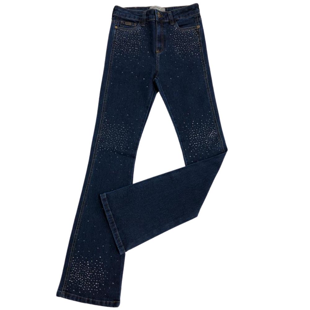Calça Jeans Country Feminina Pura Raça Flare Com Brilho