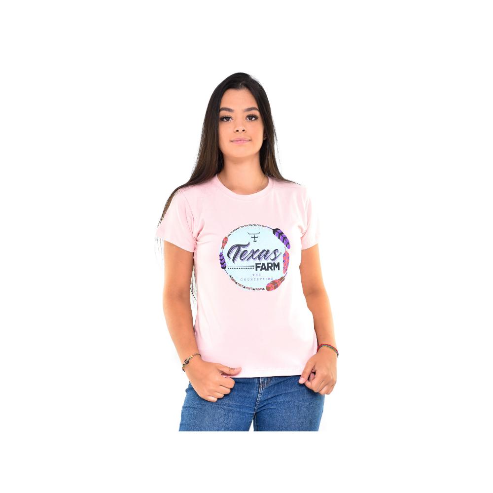Camiseta Feminina Texas Farm Rosa Verde Água REF 1664459