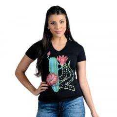 Camiseta Country Feminina Ox Horns Preta Cactos
