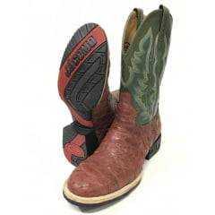 Bota Texana Country Masculina Jácomo Couro Legítimo de Avestruz Escamada Almondega/Napa Fiore Musgo