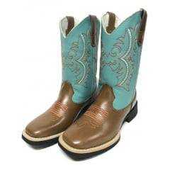 Bota Texana Feminina Big Bull Cap/Azul Turquesa Cano Azul com Bordados