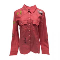 Camisa Country Bordada Vermelha Feminina West Dust