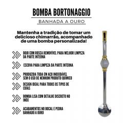 Bomba de Chimarrão Bortonaggio com Pedra Branca Ref.: D257