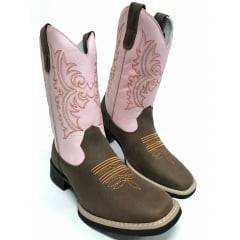 Bota Texana Feminina Big Bull Rosa Bordada