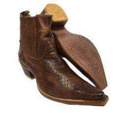 Bota Country Masculina Bico Fino Ribershoes Anaconda Mogno