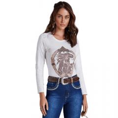 Body Feminino Minuty - Estampa de Cavalo com Brilho Ref: 756