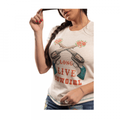 Camiseta Feminina Miss Country Gun Bege Ref.: 0712