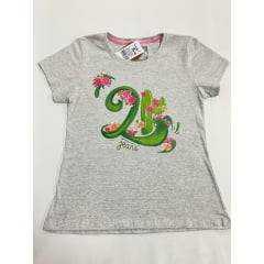 Camiseta Country Feminina 2K Jeans Cinza de Flores