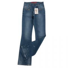 Calça Jeans Country Feminina West Dust Flare Megan Boot Cut