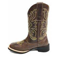 Bota Texana Feminina Big Bull Fossil Tabaco Amarela