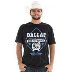 Camiseta Masculina Houston Dallas - West Dust - Preto