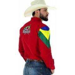 Camisa Masculina Radade Bordada Vermelha Barretos + Brindes