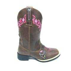 Bota Texana Feminina Big Bull Tabaco Rosa com Bordado de Caveira