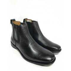 Sapato Botina Masculina Sollu Couro Soft Preto