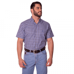 Camisa Masculina Ox Horns Xadrez Azul Ref: 9276