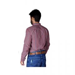 Camisa Masculina Ox Horns Xadrez Vermelho - Manga Longa