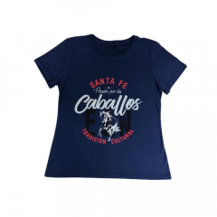 Camiseta Feminina Santa Fé Caballos Azul