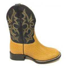 Bota Texana Country Masculina Jácomo Bico Redondo Corrugado Canela - Ref.0542/C