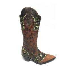 Bota Texana Country Feminina Jácomo Bico Fino Marrom Bordada