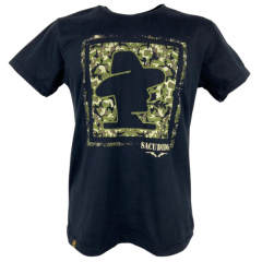 Camiseta Masculina Sacudido's Militar Preta - Ref: CM-289