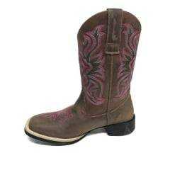 Bota Texana Feminina Big Bull Tabaco com Cano Bordado em Rosa;