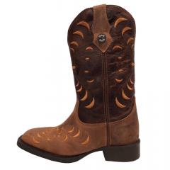 Bota Texana Feminina Country Texas Rodeo Bordado Marrom