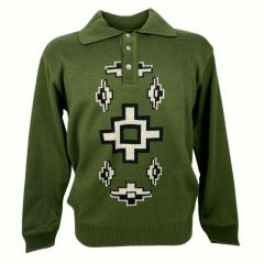 Blusa Suéter Masculino Pátria Pampa Verde com Preto e Branco