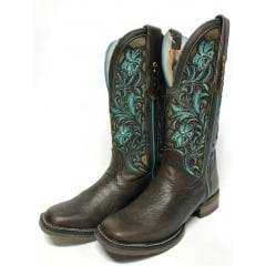 Bota Texana Country Feminina Goyazes Azul Bico Quadrado
