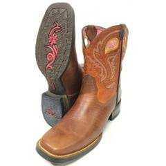 Bota Texana Country Feminina Goyazes Atlanta Caramelo/Tangerina Bico Quadrado