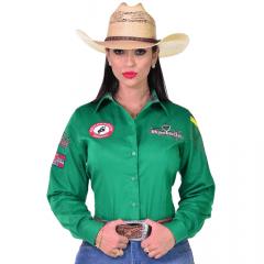 Camisa Radade Feminina Verde Bordada Barretos