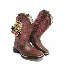 Bota Texana Feminina Vimar Vecchio Whisky Rosa Ref. 13006