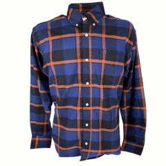 Camisa Masculina Classic Flanela Xadrez Azul Escuro/Laranja