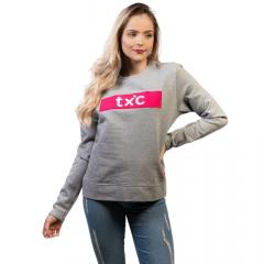 Moletom Feminino TXC Cinza e Rosa Ref: 34622