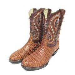 Bota Texana Country Masculina Durango Couro Legítimo de Jacaré Bico Redondo