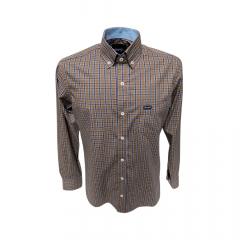 Camisa Wrangler Tricoline Masc Marrom Xadrez - Ref: WM9963