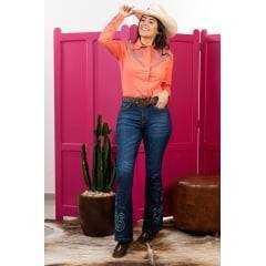 Camisa Feminina Mandala Coral Miss Country Com Brilho