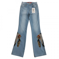 Calça Jeans Country Feminina West Dust Flare Trentino Crown