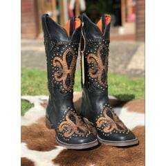 Bota Texana Goyazes Feminina Mustang Preto