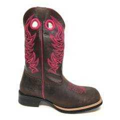 Bota Texana Feminina Red Dust Fossil Marrom Pink