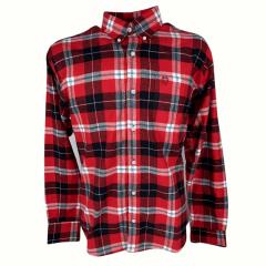Camisa Masculina Classic Flanela Xadrez Vermelho/Preto