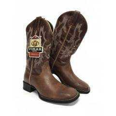 Bota Texana Masculina Vimar Crazy Horse Café Branca