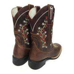 Bota Texana Feminina Big Bull Fóssil/Sella Com Bordados de Flores